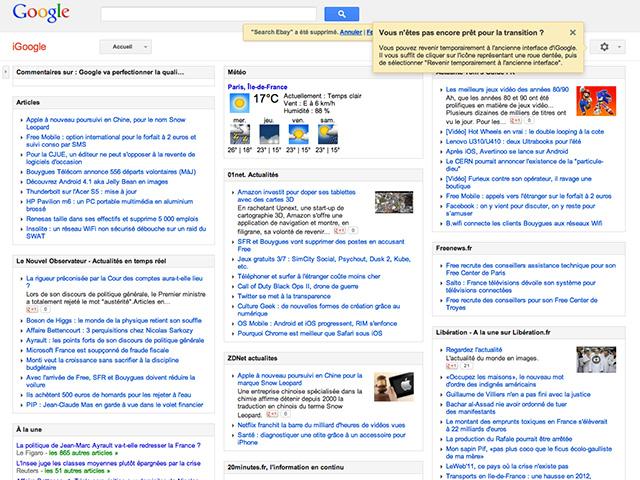 Fin de parcours pour iGoogle en 2013