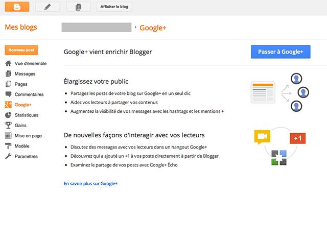 Google+ désormais intégré à Blogger