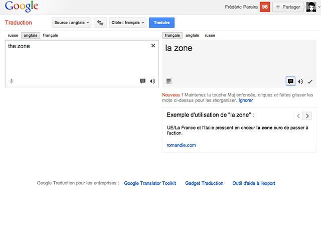 Google Traduction propose de remettre les mots dans leur contexte