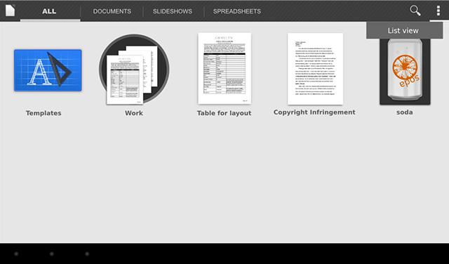 Des mock-ups pour LibreOffice sur Android