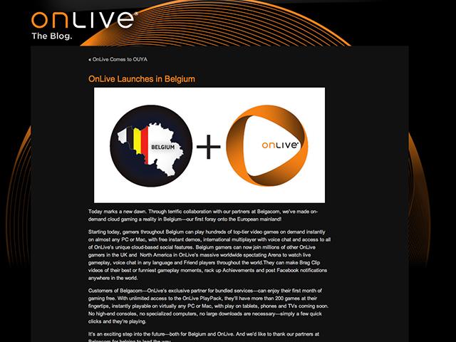 OnLive maintenant disponible en Belgique !