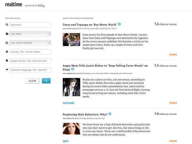Realtime, le moteur de recherche en temps réel de Bit.ly