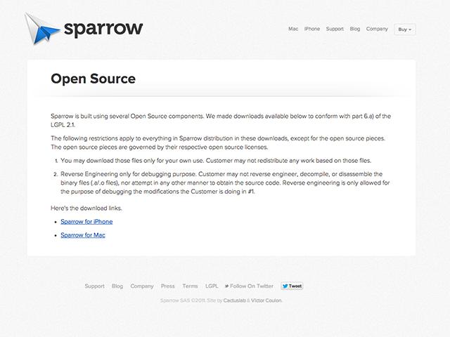 Sparrow : des composants open source accessibles au téléchargement