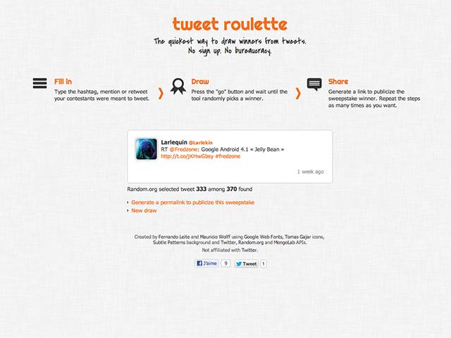 Faire un tirage au sort sur Twitter avec Tweet Roulette