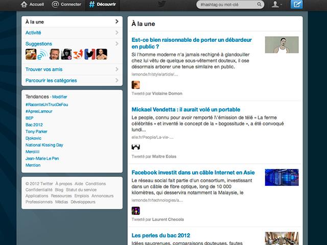 """Twitter : une mise à jour pour """"Rechercher"""" et """"Découvrir"""""""