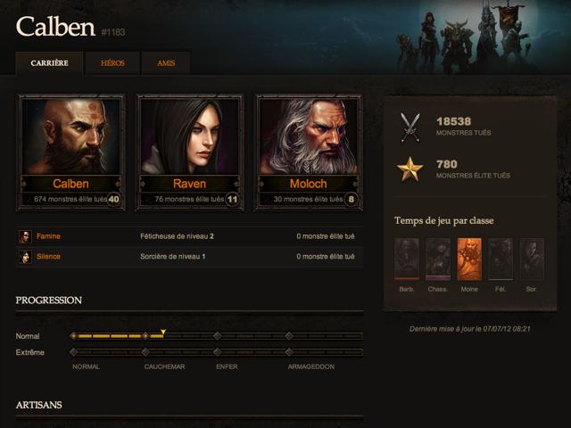 Diablo 3 : les fiches de vos personnages sur le site officiel