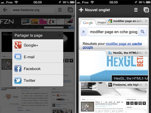 Chrome iOS : le partage direct vers Twitter, Facebook et Google+