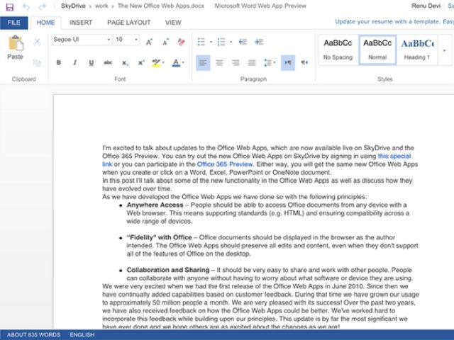 Office Web Apps : le tactile fait son entrée !
