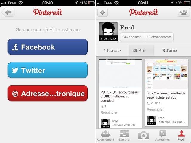 Pinterest : une application sur Android, une mise à jour sur iOS