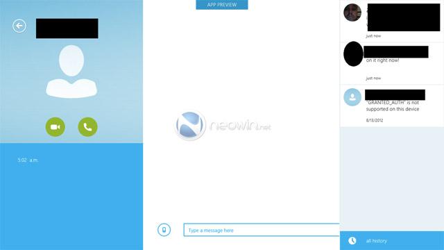 Les premières captures de Skype Metro / Modern UI