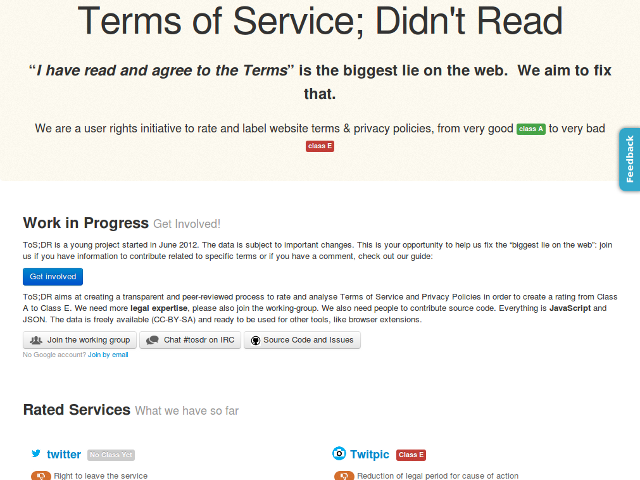Terms of Service: Didn't Read