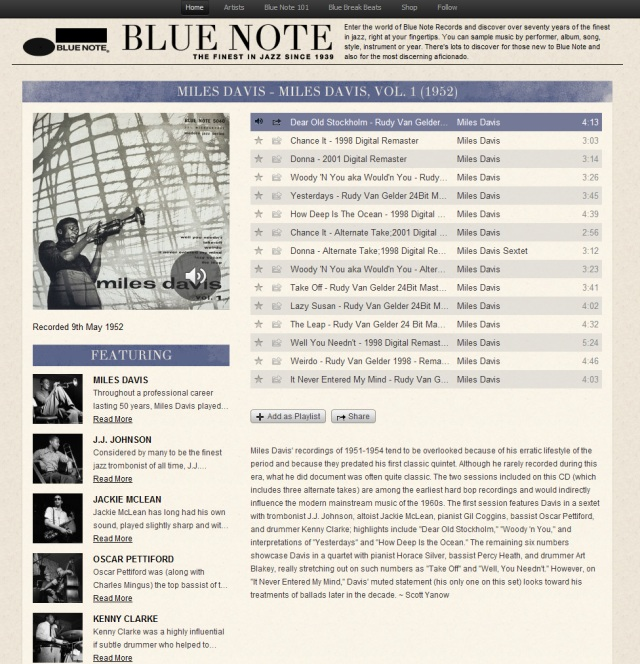 Blue Note, une application Spotify pour les amateurs de jazz