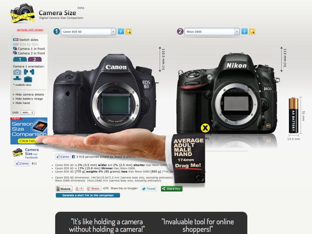 Camera Size : comparer facilement la taille des APN compacts, hybrides et réflex