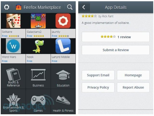 Firefox OS / Boot2Gecko : une capture de la boutique d'applications