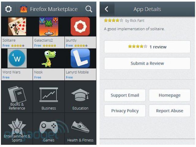 Firefox OS / Boot2Gecko : une capture de la boutique d'applications