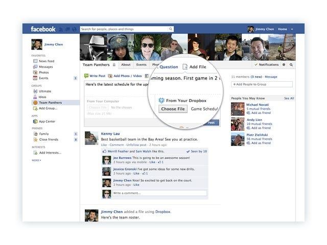 Partager des fichiers sur Facebook depuis Dropbox, ce sera très bientôt possible