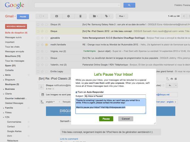 Inbox Pause, pour mettre Gmail en pause