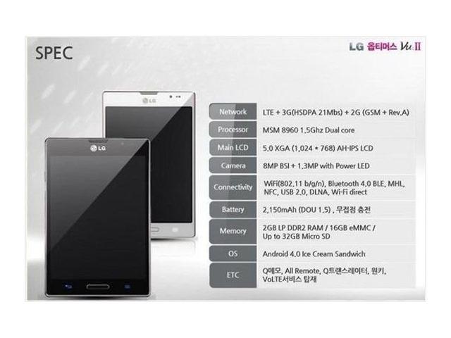 LG Optimus VU 2 : les premières spécifications