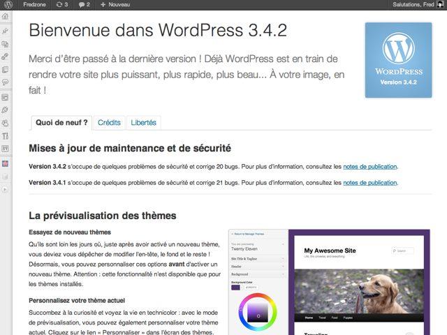 Wordpress 3.4.2 : nouvelle mise à jour de sécurité !