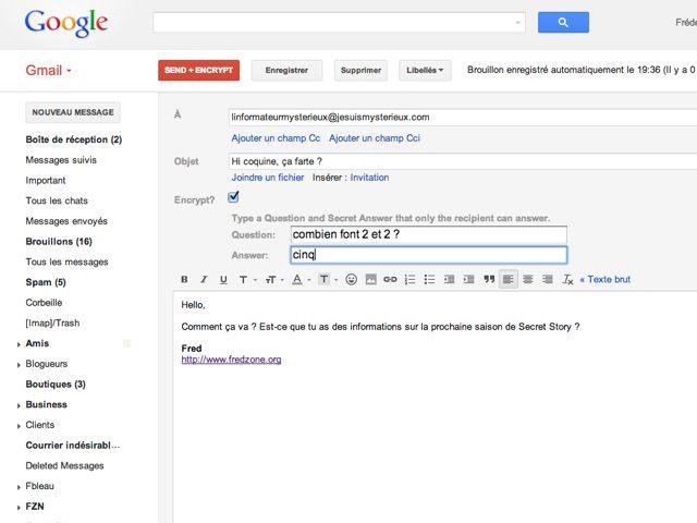 Chiffrer ses messages Gmail avec SafeMail