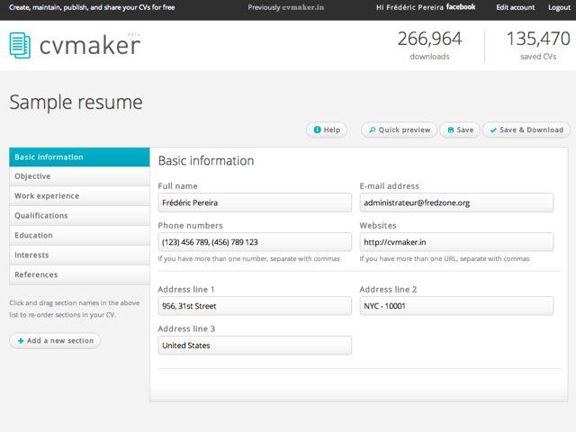 CVMaker : créer et gérer facilement ses CV en ligne