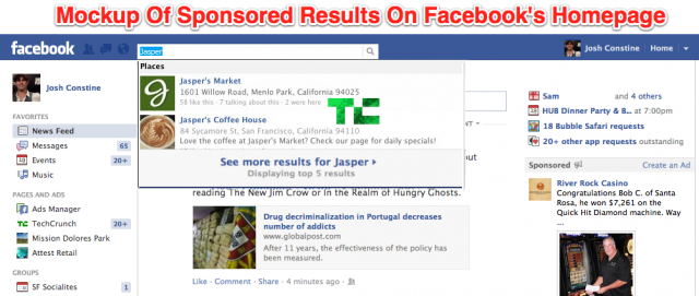 Facebook : bientôt des résultats sponsorisés dans la recherche