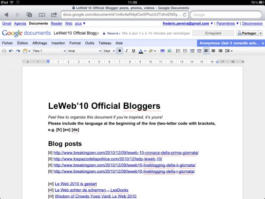 google docs disponible en version  u00ab bureau  u00bb sur ipad