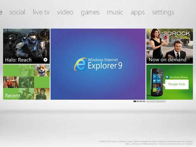 Internet Explorer sur Xbox 360