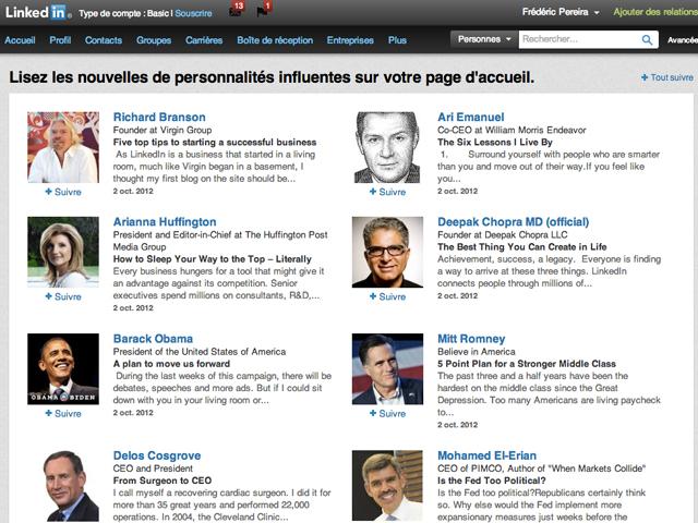 LinkedIn permet maintenant de suivre les personnalités les plus influentes