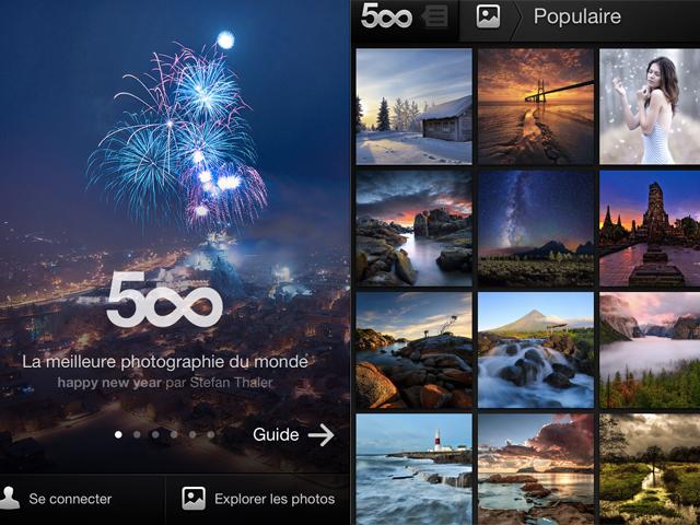 500px est disponible sur iPhone