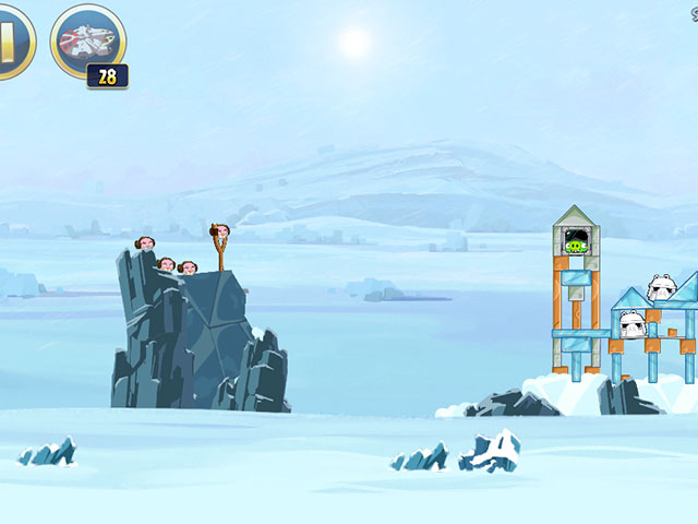 Angry Birds Star Wars : le premier niveau avec la Princesse Leia