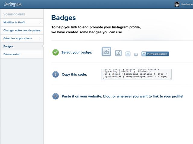Instagram : arrivée des badges pour les sites web !