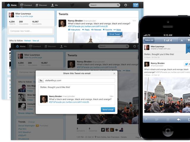 Twitter : le partage de tweets par email bientôt dispo sur le portail web