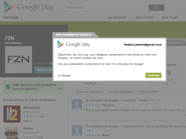Google Play : les commentaires passeront maintenant par Google+