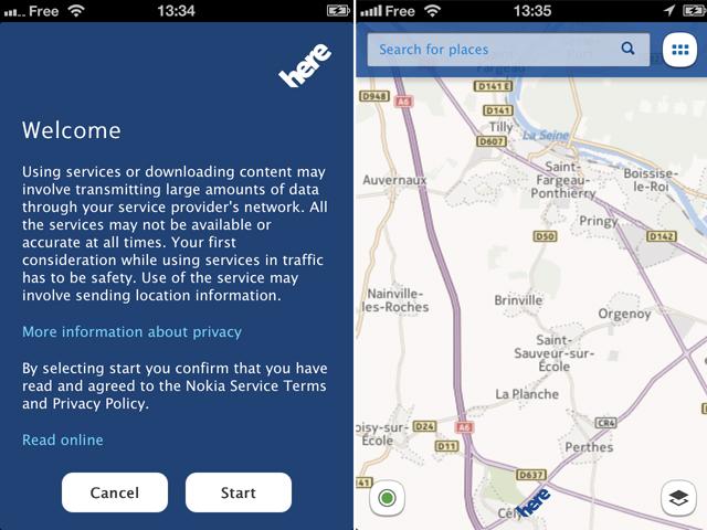 Nokia Here est disponible sur l'AppStore !