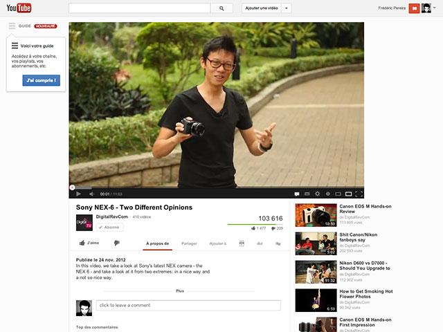 YouTube : la nouvelle page des vidéos