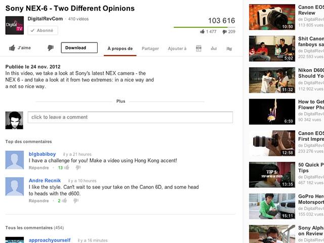 YouTube : les commentaires sur la nouvelle interface