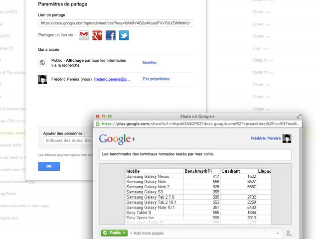 On peut partager des documents de Google Drive vers Google+