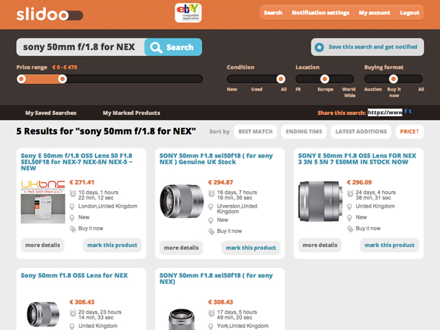 Slidoo : la recherche et la notification facile pour eBay