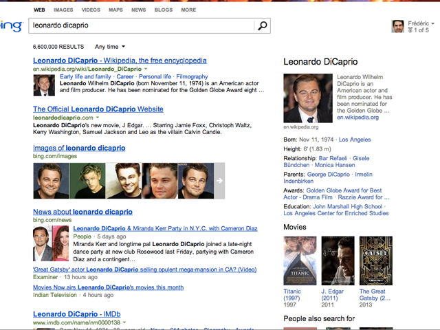 Bing Snapshot : Bing a aussi son Knowledge Graph !