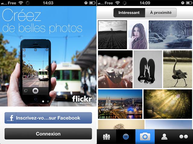 Flickr pour iOS : l'écran d'accueil et les photos populaires