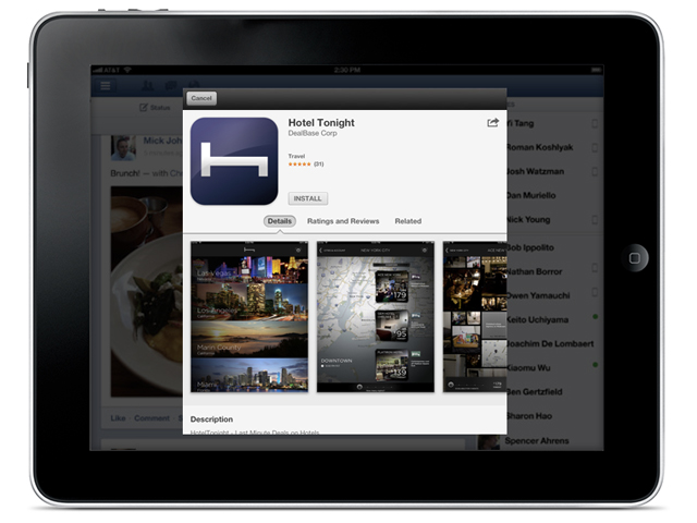 Facebook : installation des applications iOS et Android depuis le News Feed