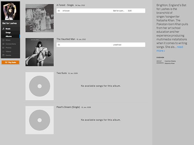 La page des albums de MySpace