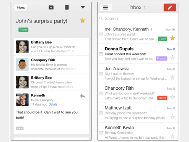 Gmail : nouvelle version sur iPhone et iPad