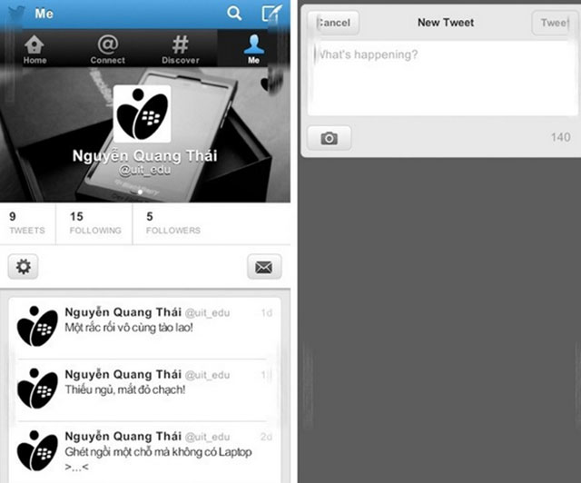 BlackBerry 10 : Twitter