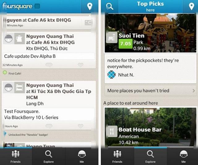 BlackBerry 10 : Foursquare