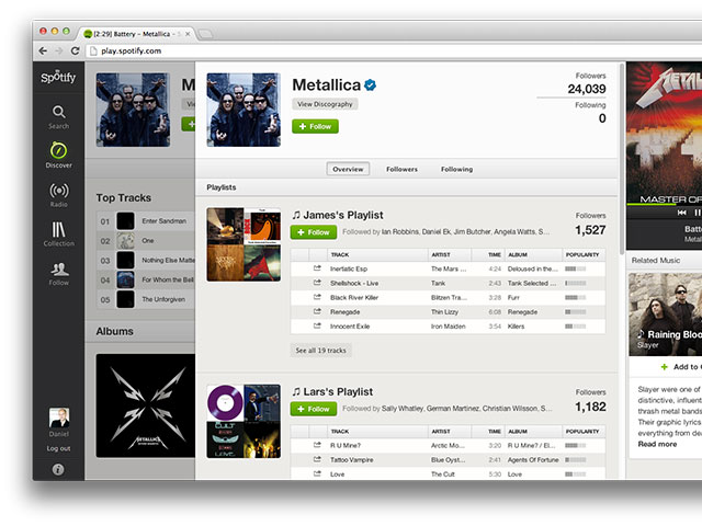 Le nouveau profil artiste de Spotify
