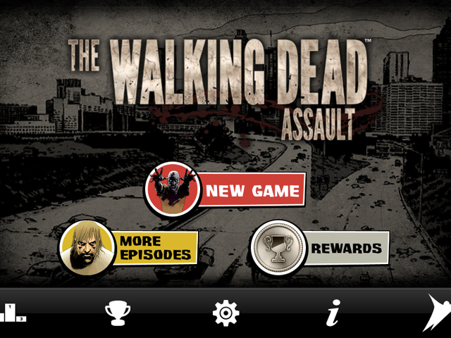 The Walking Dead Assault : l'écran d'accueil