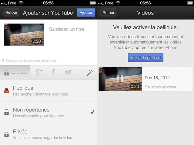 YouTube Capture : l'upload