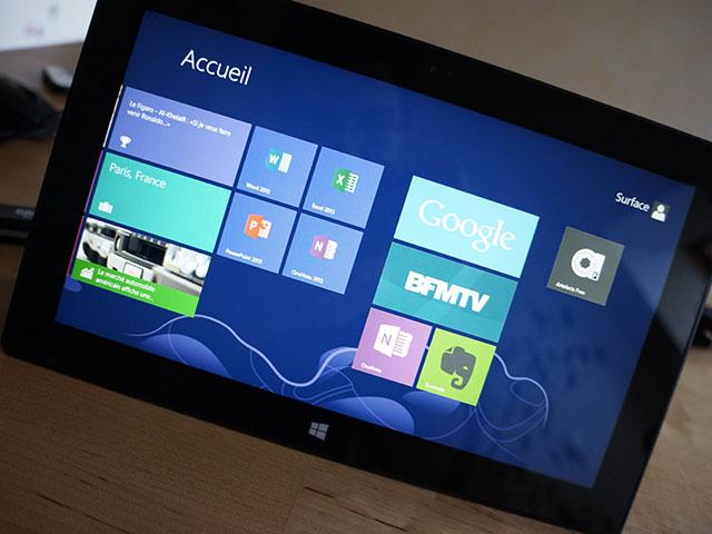 Microsoft Surface RT : l'écran d'accueil